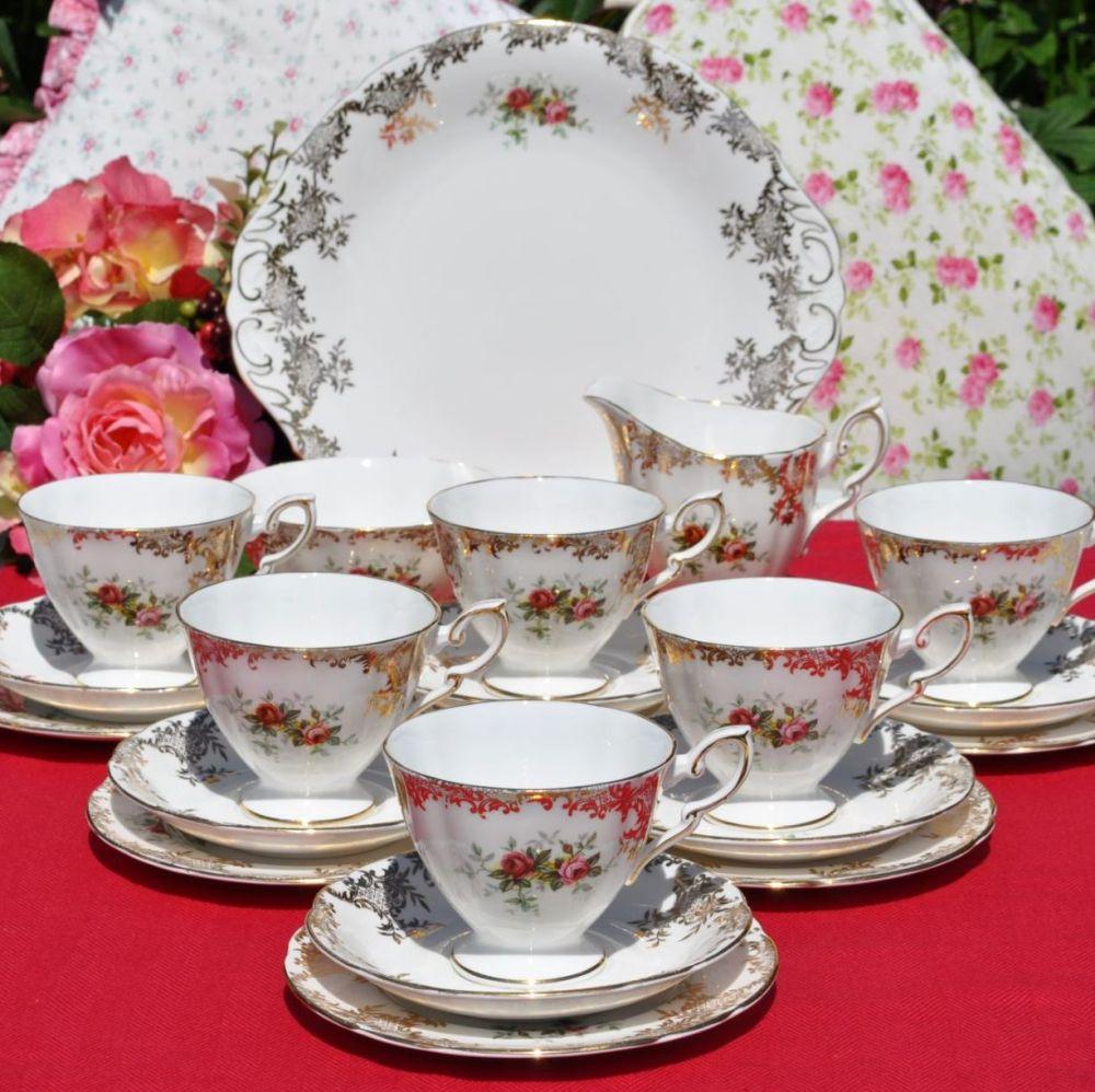 Royal Standard Vintage Red Rose and Gold Filigree 21 Piece Tea Set