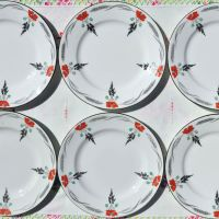Shelley Art Deco Hand Painted Poppies Plates Set c.1920s