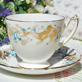 Coalport Strange Orchid Teacup and Saucer c.1970s