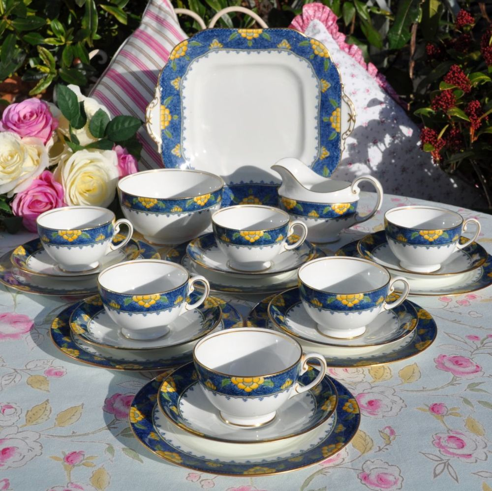 Aynsley Blue and Yellow Vintage Bone China 21 Piece Tea Set c.1925-34