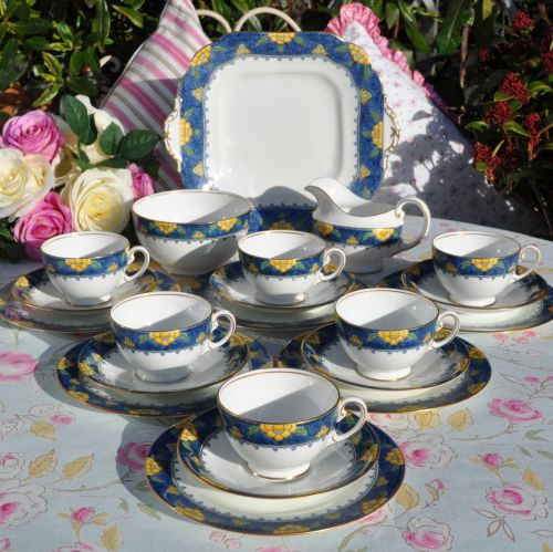 Aynsley Blue and Yellow Vintage Bone China 21 Piece Tea Set c.1925-34