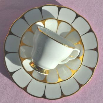 Royal Vale Gold and White Teacup Trio