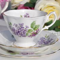 Richmond Lilacs Pattern Vintage Bone China Teacup Trio
