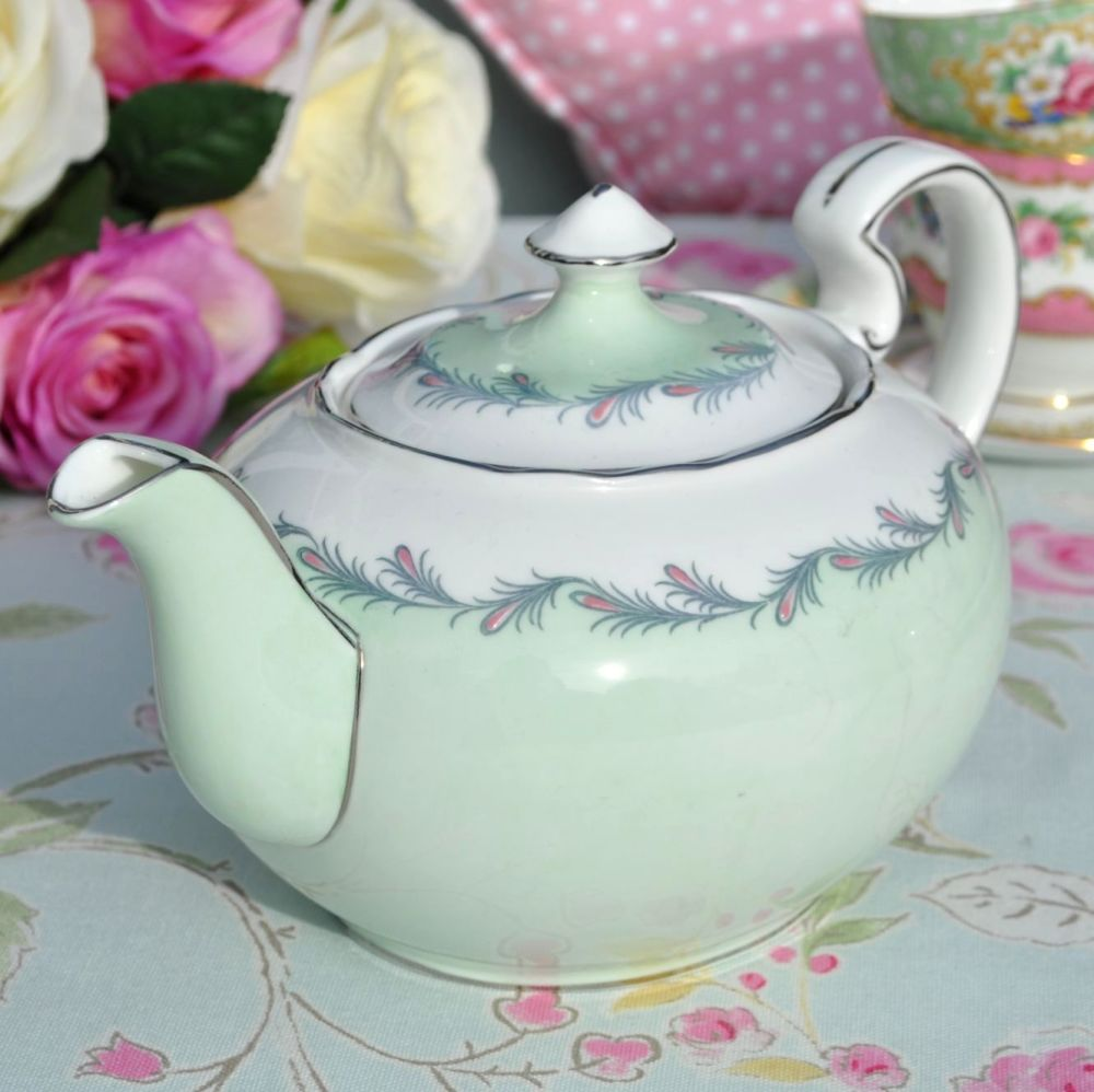 Aynsley  C1602/2 Vintage China Pale Green and Platinum Teapot