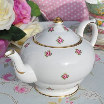 Regency 1950's Ditsy Pink Roses Small Vintage China Teapot