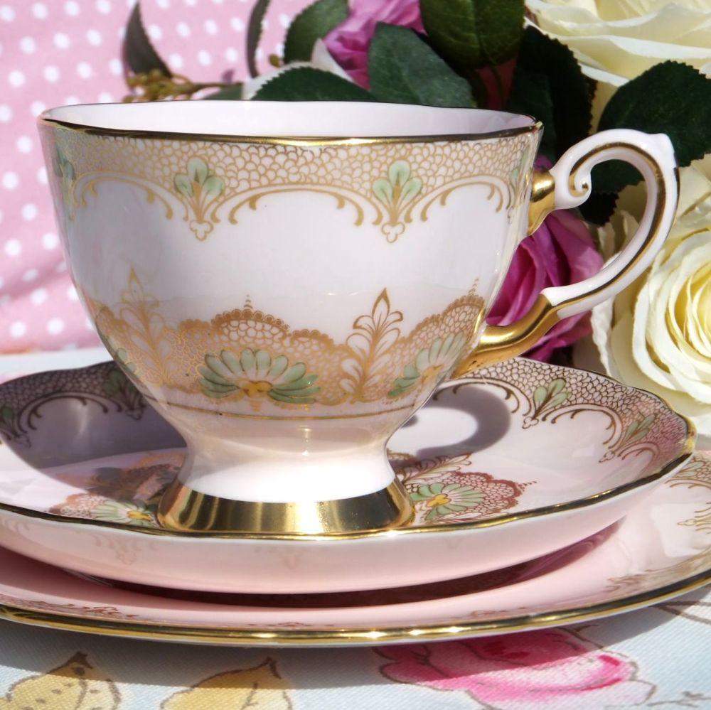 Tuscan Fine Bone China Pink and Gold Vintage Tea Trio c.1940s
