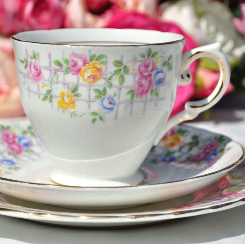 Tuscan China Rose Trellis Tea Cup Trio c.1947+