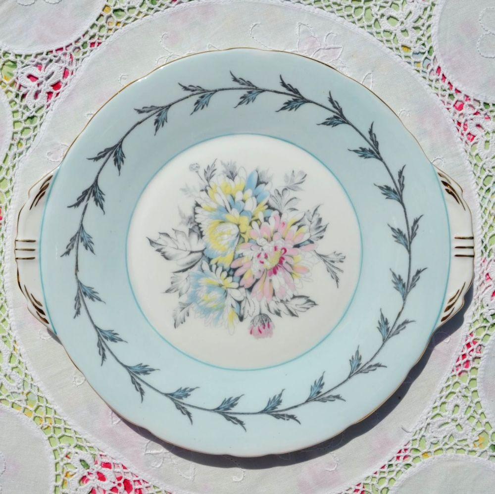 Aynsley Chrysanthemum Pale Blue Vintage Cake Plate