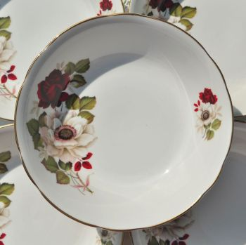 Royal Ascot Red Rose Six Dessert Dishes Set