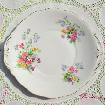 Queen Anne Old Country Spray Vintage China Cake Plate c.1960s