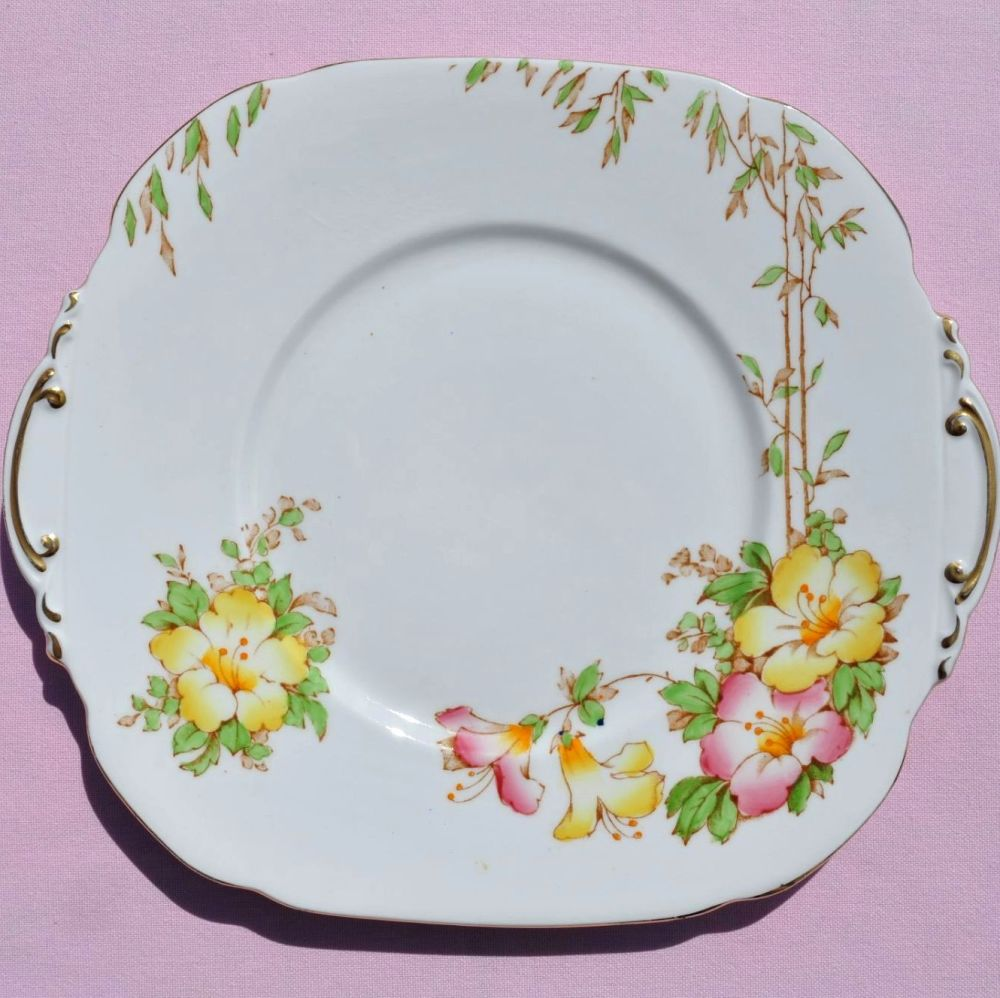 Roslyn Azalea Vintage China Cake Plate c.1937