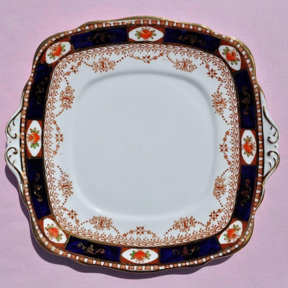 Roslyn Imari Style Cobalt Blue & Terracotta Cake Plate c.1924+