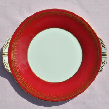 Aynsley China Red & Gold Cake Plate c.1970s