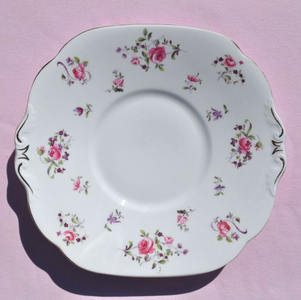 Collingwood Pretty Pink Roses Vintage China Cake Plate c.1940s