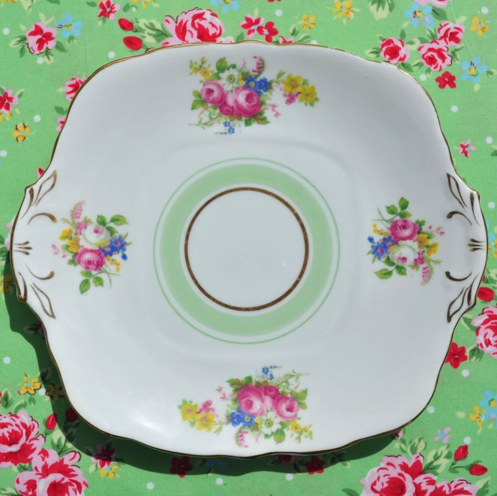 Royal Stafford Floral and Green Vintage Cake Plate