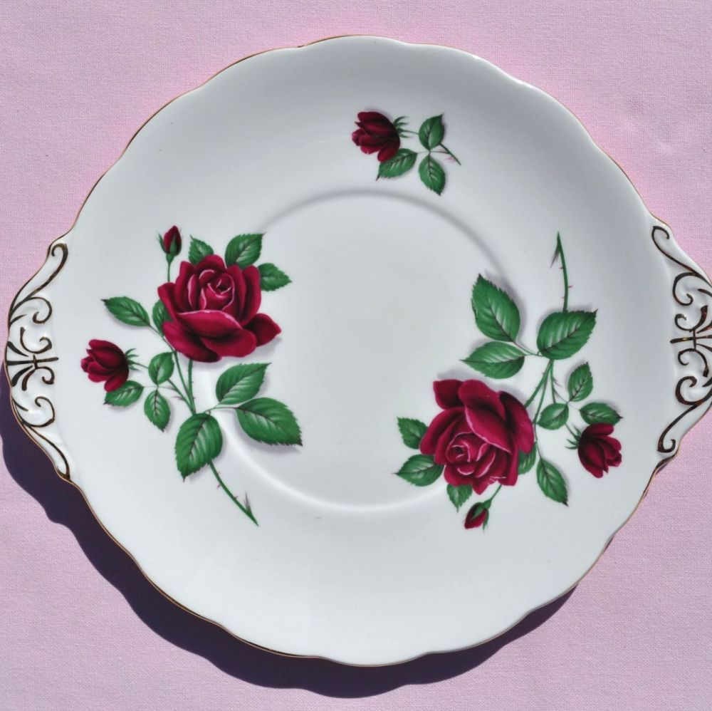Royal Standard Red Velvet Vintage Fine Bone China Cake Plate