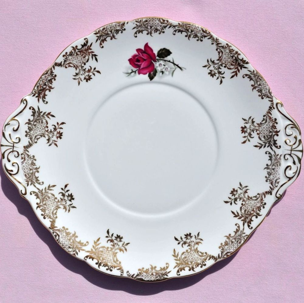 Royal Standard Pink Rose and Gold Filigree Cake Plate