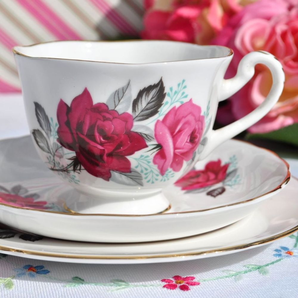 Kearwell Cerise Rose Vintage China Teacup Trio