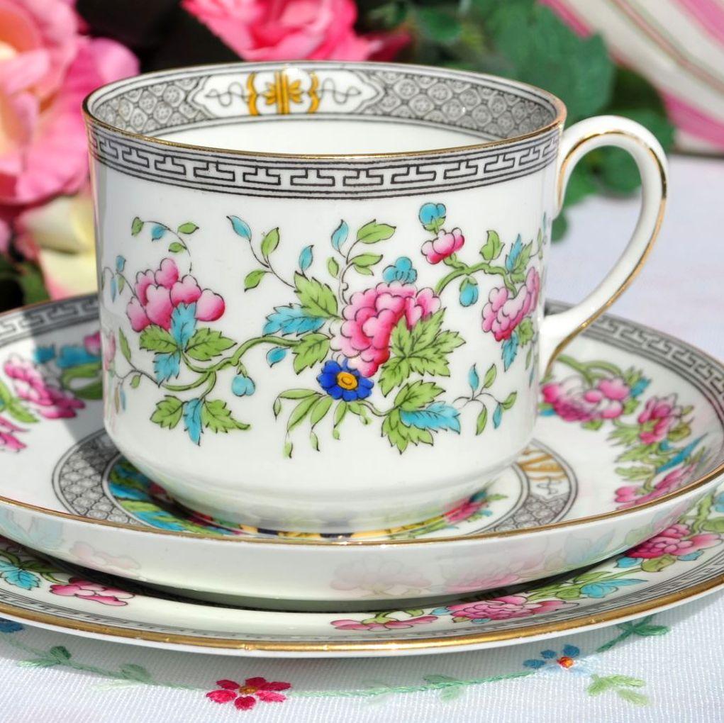 Antique Aynsley Indian Tree Breakfast Cup Trio