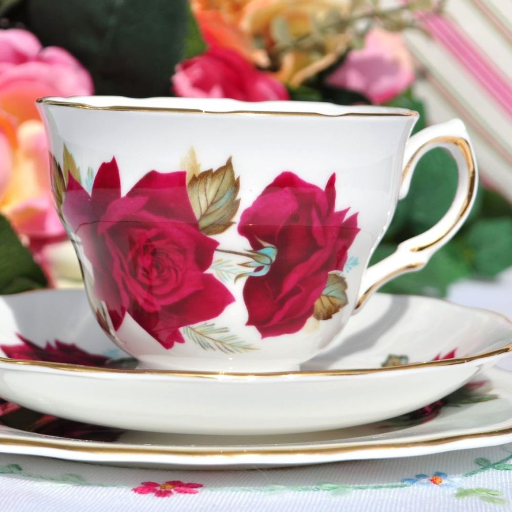 Royal Vale Red Roses Teacup Trio
