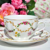 Royal Worcester Foxglove Teacup and Saucer c.1997