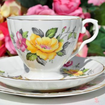 Royal Grafton Yellow and Pink Rose Teacup Trio c.1950+