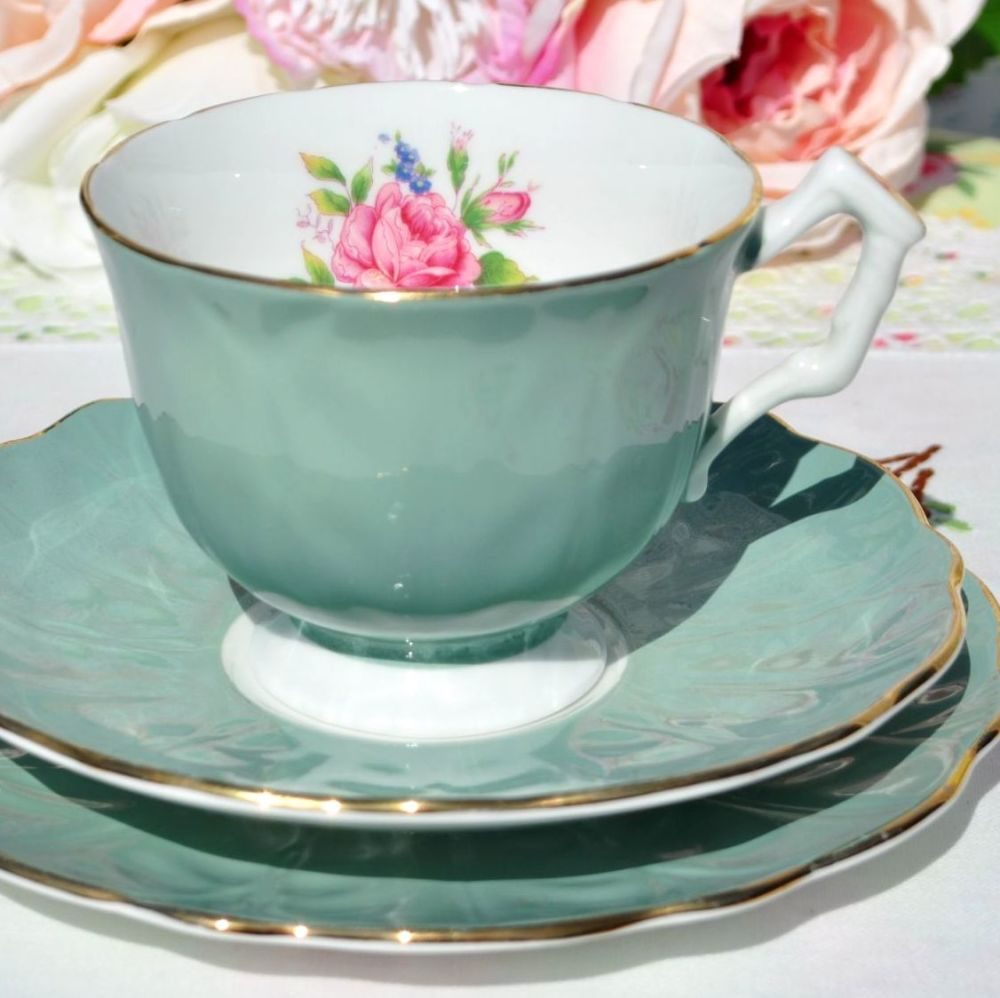 Aynsley Green and Pink Rose Teacup Trio