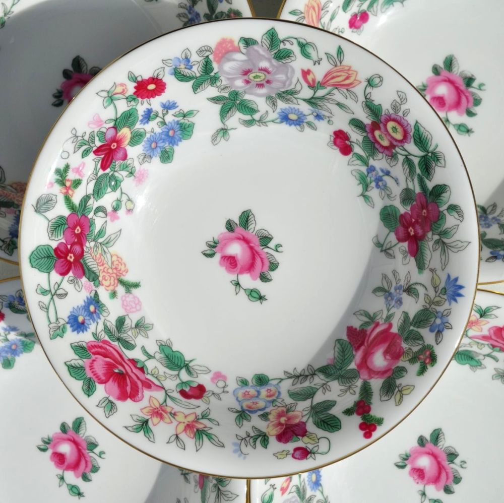 Crown Staffordshire Thousand Flowers Dessert Dishes