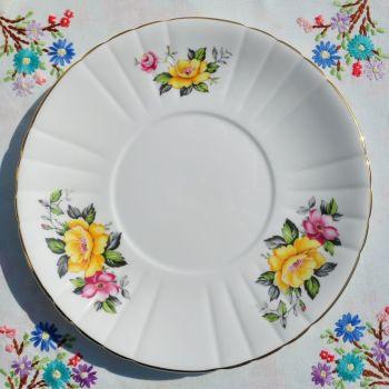 Royal Grafton Yellow and Pink Rose Cake Plate c.1950+