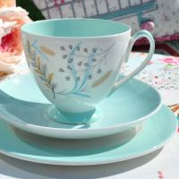 Queen Anne Glade Duck Egg Teacup Trio c.1950's