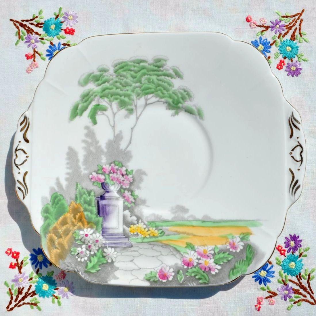 Adderley Garden Scene Cake Plate c.1962+