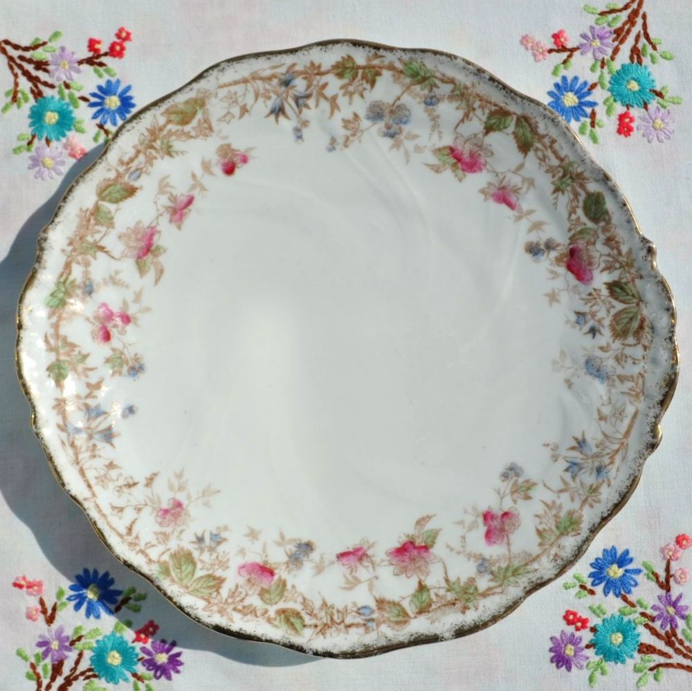 Antique Hand Painted Floral Cake Plate c.1870s