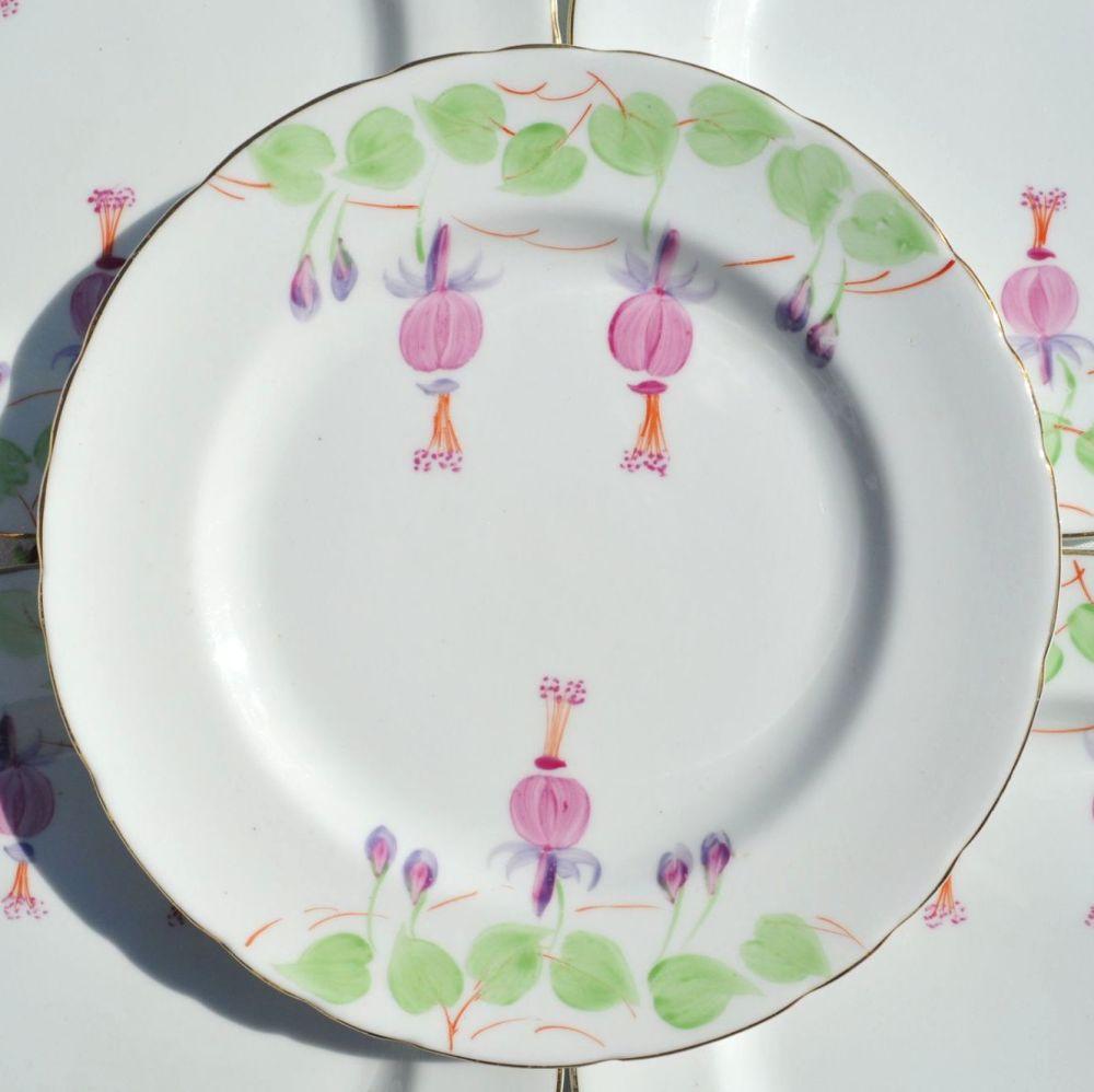 Hand Painted Fuschia Tea Plates Set c.1954-9