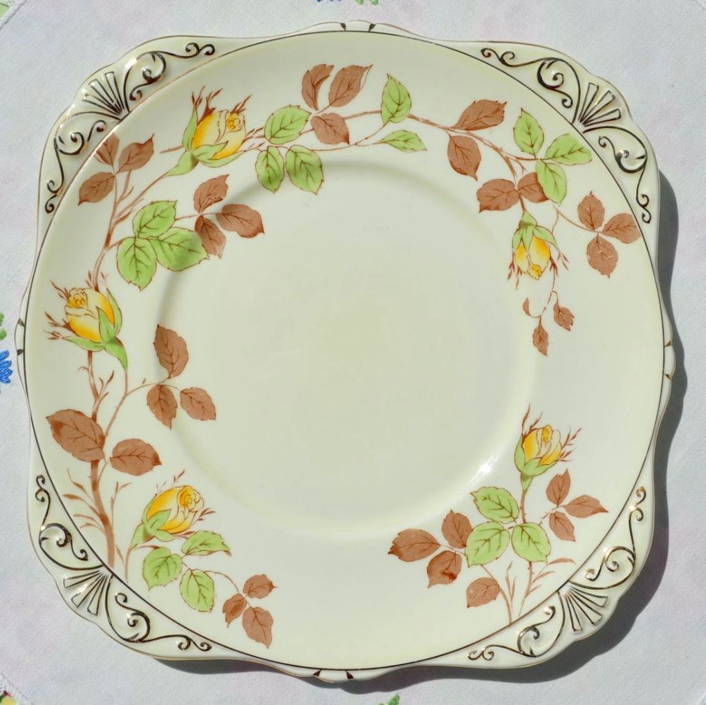 Royal Grafton Rose Bud China Cake Plate  c.1950+