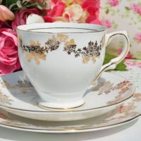 Salisbury Gold Filigree Teacup Trio c.1930s