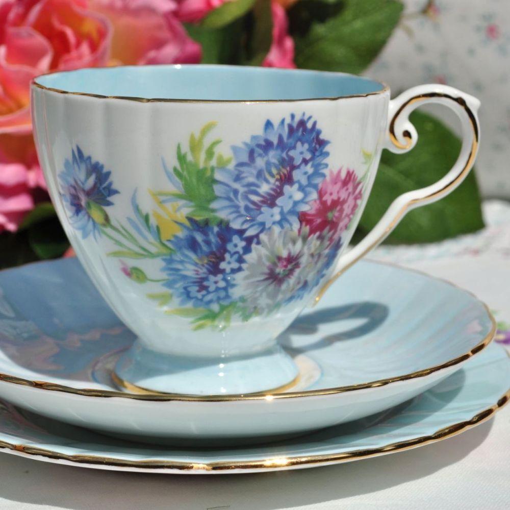 Royal Grafton Cornflower Blue Glazed Teacup Trio