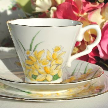Gladstone Daffodil Vintage China Teacup Trio c.1950s