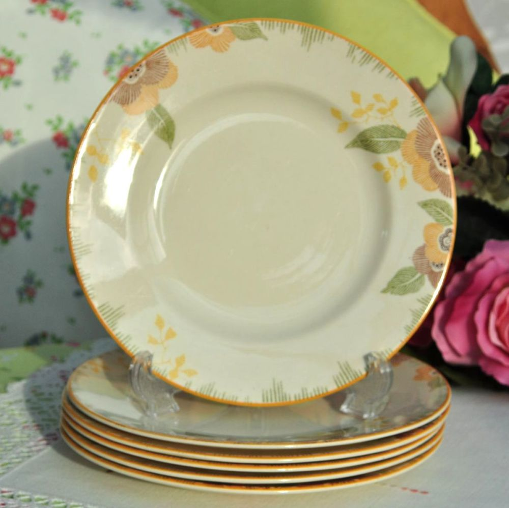Royal Doulton Nerissa Pattern 19cm Plates Set of Six c.1930s