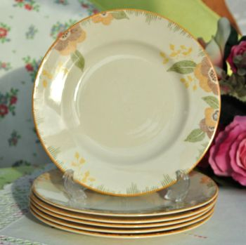 Royal Doulton Nerissa Pattern 19cm Plates Set of Six c.1930s