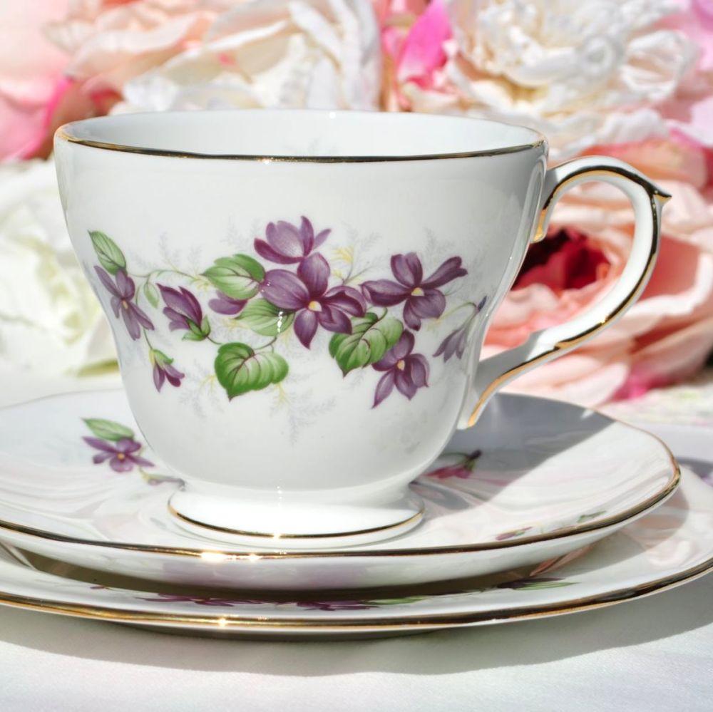 Duchess Violets Vintage China Teacup Trio