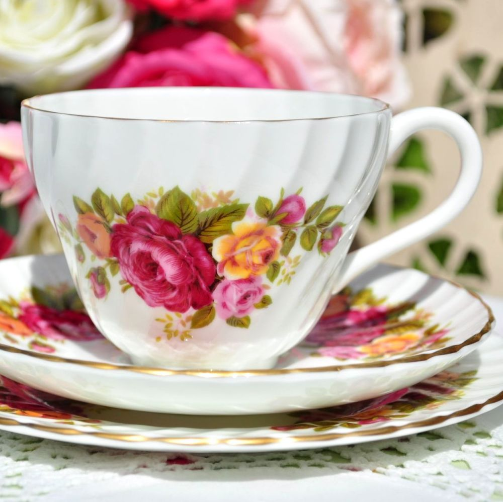 Crown Staffordshire Fluted Roses Teacup Trio