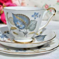 Queen Anne Blue Harebell Teacup Trio c.1960s