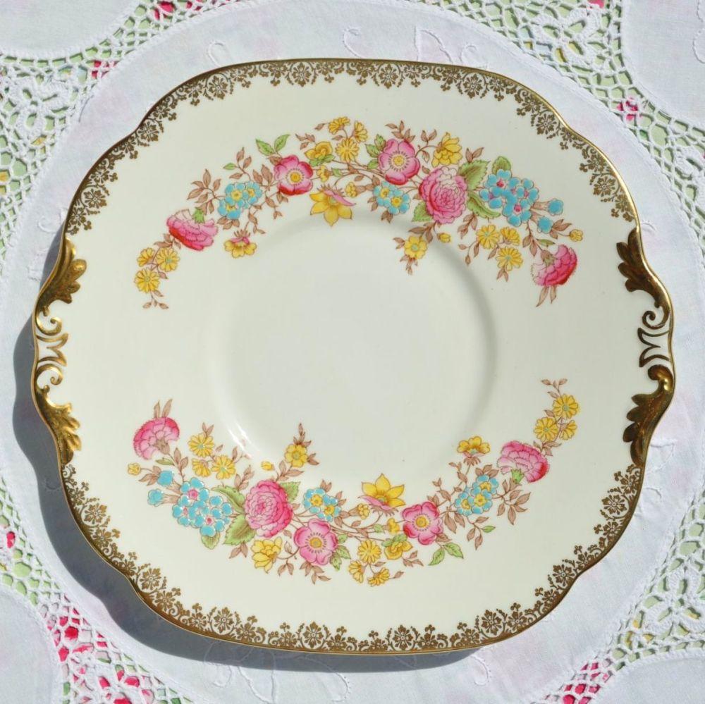 Collingwood cream hand painted vintage cake plate
