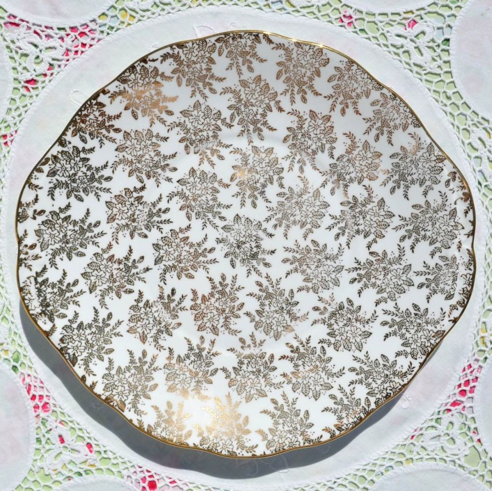 Royal Vale Gold Filigree Cake Plate