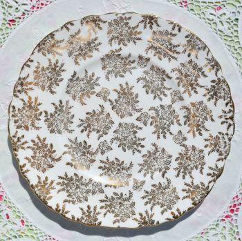 Royal Vale Gold Filigree Square Cake Plate c.1950s