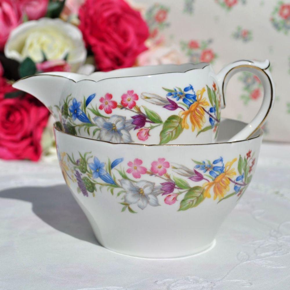 Shelley Spring Bouquet Sugar Bowl and Jug