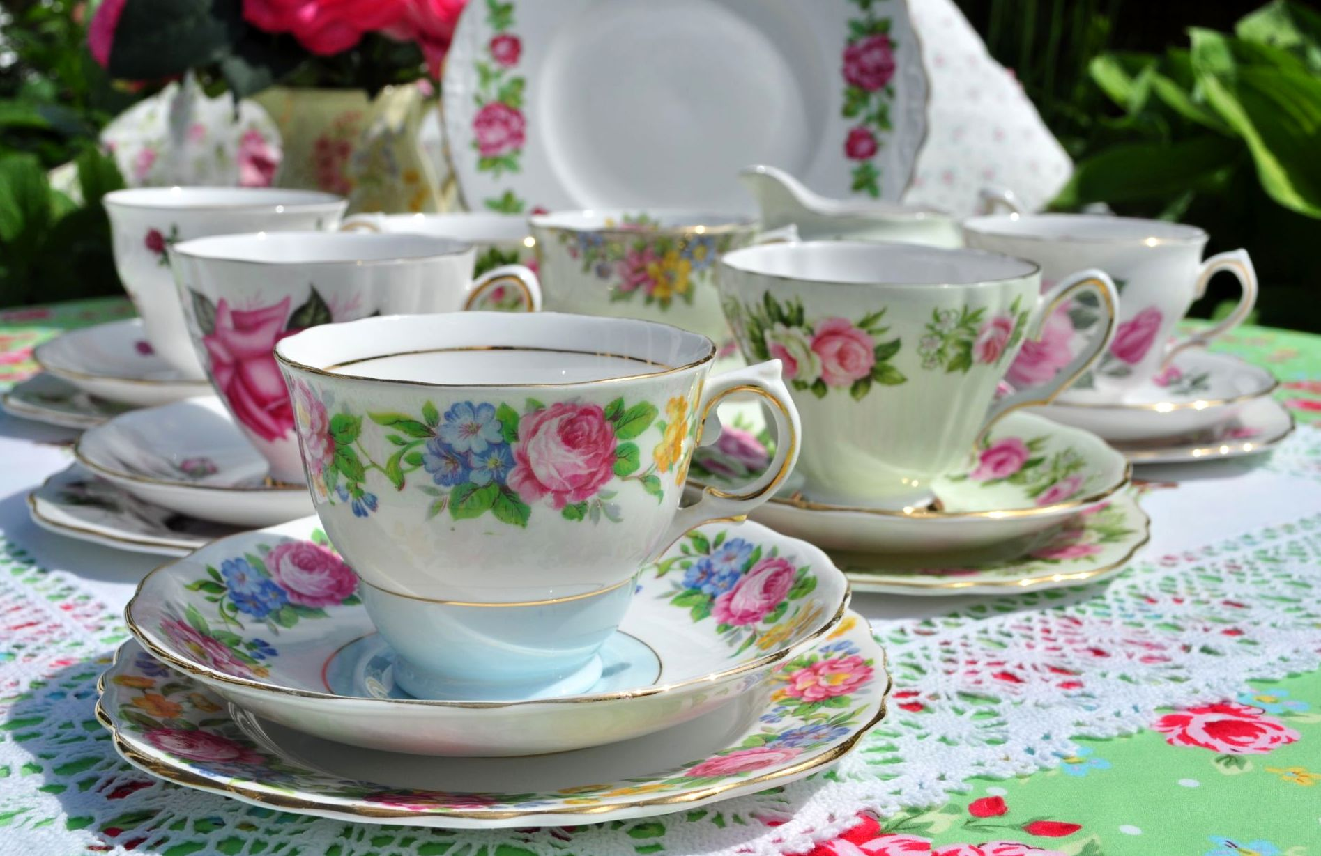 vintage mixed tea set