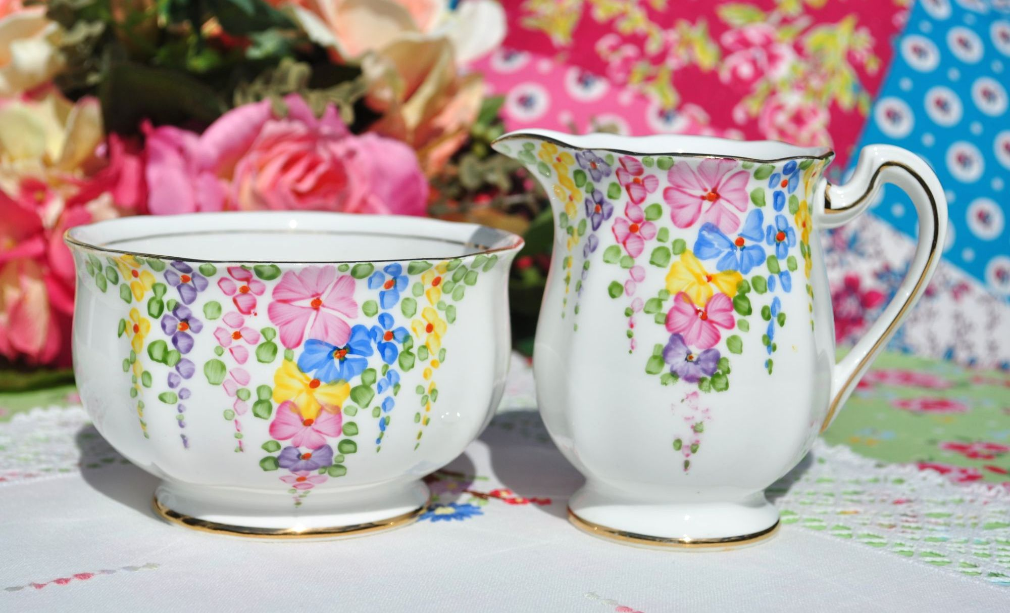 Hollyhock  Milk Jug and Sugar Bowl