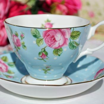 Royal Albert Polka Blue Teacup and Saucer