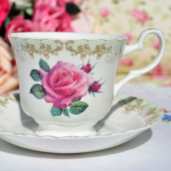 Vintage Rose Green Rim Bone China Teacup and Saucer